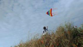 Gelukkig Kaukasisch weinig jongen die zich onder grasholding bevinden die kleurrijke vlieger op blauwe hemelachtergrond vliegen stock video