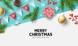 Gelukkig Kerstmisontwerp als achtergrond stock illustratie