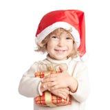 Gelukkig kind met de gift van Kerstmis royalty-vrije stock foto