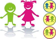 Gelukkig kinderenpictogram Stock Foto