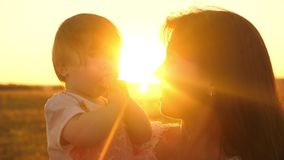 Gelukkig kinderjarenconcept Een gelukkige familie, mamma die met haar weinig dochter in park in de zomer in stralen van zonsonder stock video