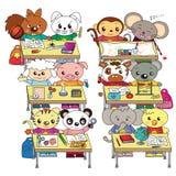 Gelukkig klaslokaal met dieren stock illustratie
