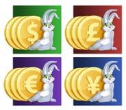 Gelukkig konijntjesmeisje en geld Dollar, Euro, Yen, pond Sterling Stock Afbeeldingen
