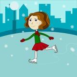 Gelukkig leuk meisje die op schaatsen berijden Royalty-vrije Stock Fotografie