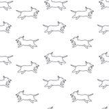 Gelukkig lopend honden naadloos patroon Stock Foto