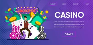 Gelukkig Lucky Man Winner Hit Jackpot bij Casino stock illustratie