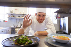 Gelukkig mannelijk chef-kok kokend voedsel bij restaurantkeuken Royalty-vrije Stock Afbeelding
