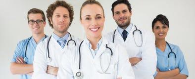 Gelukkig medisch team stock afbeelding