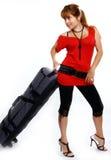 Gelukkig meisje dat op vakantie gaat Stock Afbeeldingen