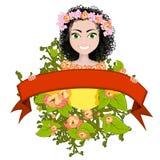 Gelukkig meisje in de kleuren en met rood lint Royalty-vrije Stock Foto's
