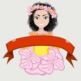 Gelukkig meisje in de kleuren en met rood lint Royalty-vrije Stock Afbeeldingen