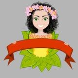 Gelukkig meisje in de kleuren en met rood lint Stock Afbeelding