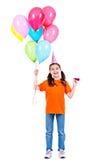 Gelukkig meisje die kleurrijke ballons houden Stock Afbeelding