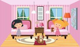 Gelukkig meisje die slaapkamer delen royalty-vrije illustratie