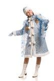 Gelukkig meisje in het kostuum van het sneeuwmeisje met klatergoud stock afbeelding