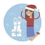 Gelukkig Meisje in het Springen voor Joy Near Xmas Gifts Royalty-vrije Stock Afbeeldingen