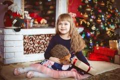 Gelukkig meisje met de doos van de Kerstmisgift Royalty-vrije Stock Afbeeldingen