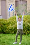 Gelukkig Meisje met de vlag van Israël royalty-vrije stock fotografie