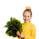 Gelukkig meisje met groen esdoornblad in zijn hand Royalty-vrije Stock Fotografie
