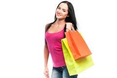 Gelukkig meisje met het winkelen zakken Royalty-vrije Stock Foto's