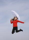 Gelukkig meisje met paraplu Royalty-vrije Stock Afbeeldingen