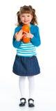 Gelukkig meisje met sinaasappelen stock afbeelding