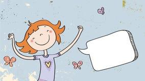Gelukkig meisje met toespraakballon Stock Fotografie