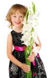 Gelukkig meisje met witte bloemen. Stock Afbeeldingen