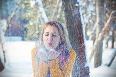gelukkig meisje in mooie zonnige de winterdag Stock Afbeeldingen