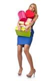 Gelukkig meisje na het winkelen Stock Fotografie