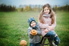 Gelukkig meisje op pompoenflard op koude de herfstdag, met heel wat pompoenen voor Halloween of dankzegging Stock Foto's