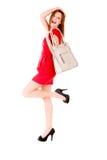 Gelukkig meisje in rode kleding Stock Afbeeldingen