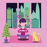 Gelukkig Meisje thuis met hoofdtelefoons die aan de muziek luisteren vector illustratie