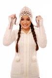 Gelukkig meisje in warme de winterkleding Royalty-vrije Stock Fotografie