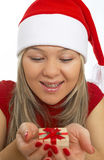 gelukkig met aanwezige Kerstmis Stock Foto's