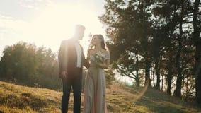 Gelukkig mooi huwelijkspaar die in grepen op zonsondergang lopen stock video