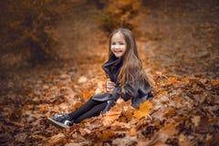 Gelukkig mooi meisje in de de herfstbladeren royalty-vrije stock foto's