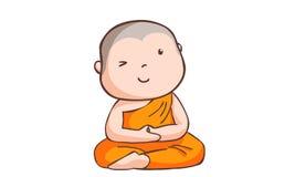 Gelukkig neemt weinig beginner mediteert Stock Illustratie