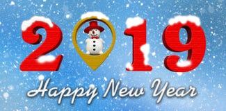2019, gelukkig nieuw 3d jaar, geeft, plaats binnen sneeuwman, sneeuw op achtergrond terug