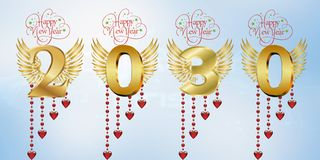 Gelukkig Nieuw jaar 2030 stock illustratie