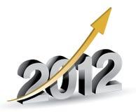 Gelukkig nieuw jaar 2012 met het toenemen grafiek Stock Fotografie