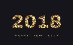 Gelukkig nieuw jaar, abstract 3d ontwerp, de vectorillustratie van 2018 Stock Afbeelding