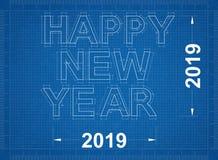 Gelukkig Nieuw jaar 2019 - Blauwdruk stock illustratie