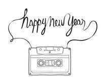 Gelukkig nieuw jaar, Compacte Cassette, getrokken vecto van Musicassette hand vector illustratie