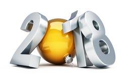 Gelukkig nieuw jaar 2018 3d Illustraties Stock Foto