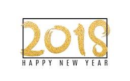 Gelukkig nieuw jaar 2018 De aantallen van gouden schittert op een witte achtergrond Zwart frame Abstracte achtergrond voor uw pro Royalty-vrije Stock Foto