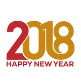 Gelukkig nieuw jaar 2018 De kaartmalplaatje van de groet royalty-vrije stock afbeelding
