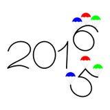 Gelukkig nieuw jaar de tekstontwerp van 2015 en van 2016 Royalty-vrije Stock Foto