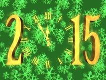 Gelukkig nieuw jaar die 2015 begroeten - klok en sneeuwvlokken Royalty-vrije Stock Foto's