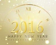 Gelukkig nieuw jaar en goud met klokachtergrond Stock Afbeelding